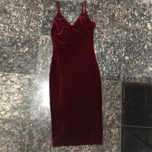 Sexy red wine suede dress
